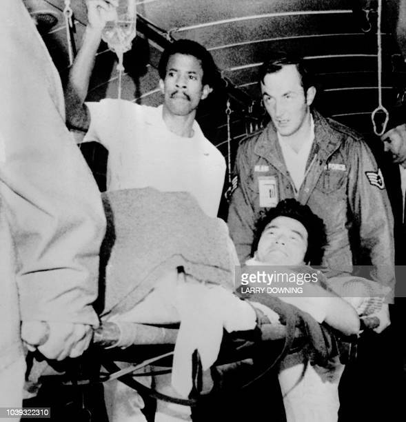Steven Sung NBC News soundman survivor of an ambush at a jungle airstrip in Guyana is evacuated on 19 November 1978 after the mass suicide of more...
