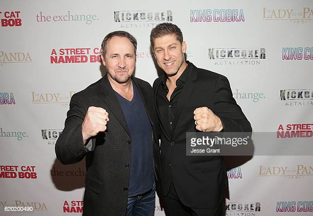 Steven Swadling and Alain Moussi attend AFM'16 The Exchange's 5 Year Anniversary Celebration on November 1 2016 in Santa Monica California