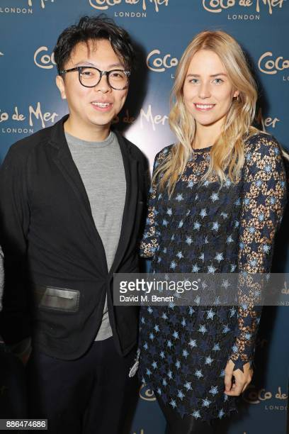 Steven Tai and Sophie Burrowes attend the launch of Pamela Anderson's exclusive Coco De Mer collection at Morton's on December 5, 2017 in London,...