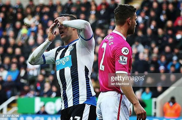 Steven Taylor of Newcastle United reacts during the Barclays Premier League match between Newcastle United and AFC Bournemouth at St James Park on...