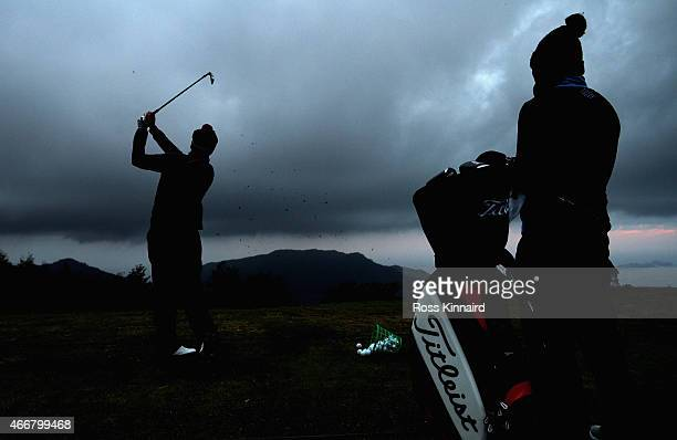 Steven Tiley of England on the driving range prior to the delayed first round of the Madeira Islands Open at the Santo da Serra Golf Club in Santo da...