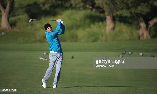 Steven Tiley of England plays a shot from the 1st fairway during day two of the Challenge de Catalunya at the Lumine Golf and Beach Club on April 25...