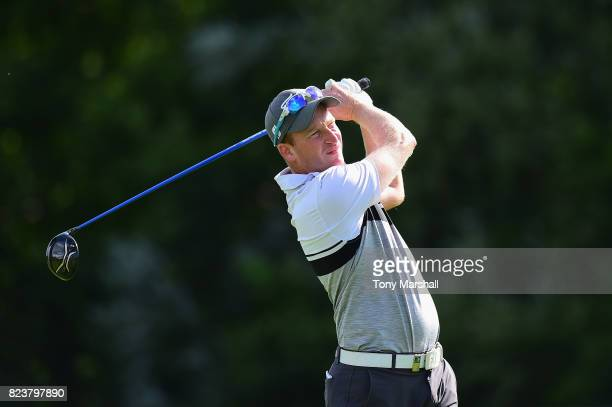 Steven Tiley of England plays his first shot on the 13th tee during the Porsche European Open Day Two at Green Eagle Golf Course on July 28 2017 in...