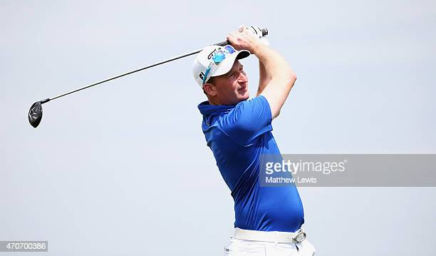 Steven Tiley of England tees off during day one of the Challenge de Madrid at the El Encín Golf Hotel on April 22 2015 in Madrid Spain