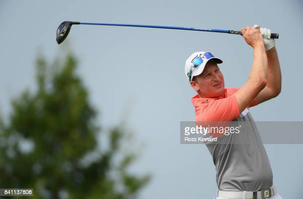 Steven Tiley of England tees off on the 15th hole during day one of the DD REAL Czech Masters at Albatross Golf Resort on August 31 2017 in Prague...