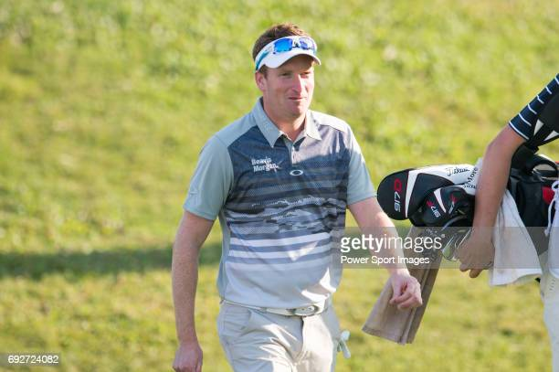 Steven Tiley of England tees off the first hole during the 58th UBS Hong Kong Open as part of the European Tour on 08 December 2016 at the Hong Kong...
