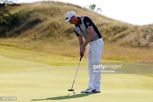Steven Tiley of Royal Cinque Ports putts during The Open Championship Qualifying at Hillside Golf Club on July 1 2014 in Southport England