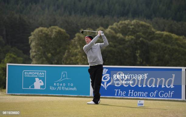 Steven Tilley of England plays his first shot on the 1st tee during Day Three of the SSE Scottish Hydro Challenge hosted by Macdonald Hotels and...