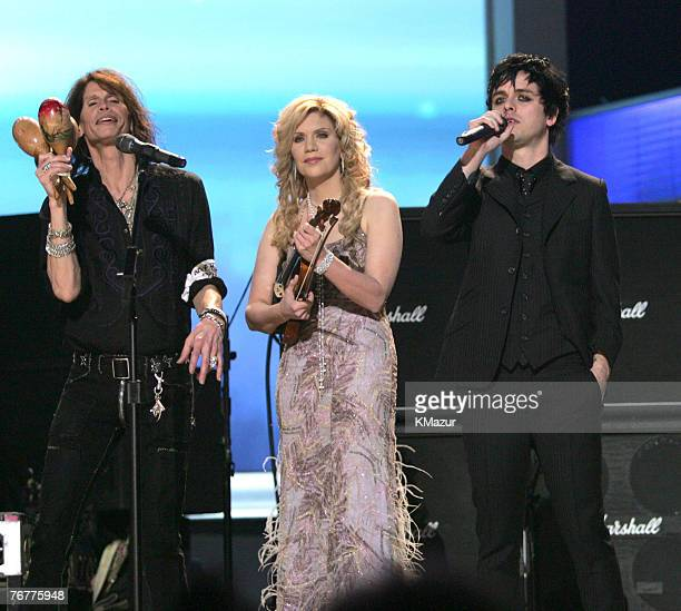 Steven Tyler Alison Krauss and Billie Joe Armstrong perform Across The Universe the Tsunami Relief performance Photo by Kevin Mazur/WireImage for The...