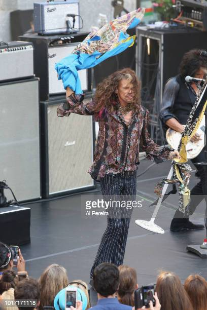 Steven Tyler signs autographs when Aerosmith perform on NBC's 'Today' Show at Rockefeller Plaza on August 15 2018 in New York City