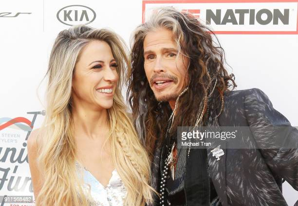 Steven Tyler and Aimee Ann Preston arrive to the Steven Tyler and Live Nation presents Inaugural Gala Benefitting Janie's Fund held at Red Studios on...