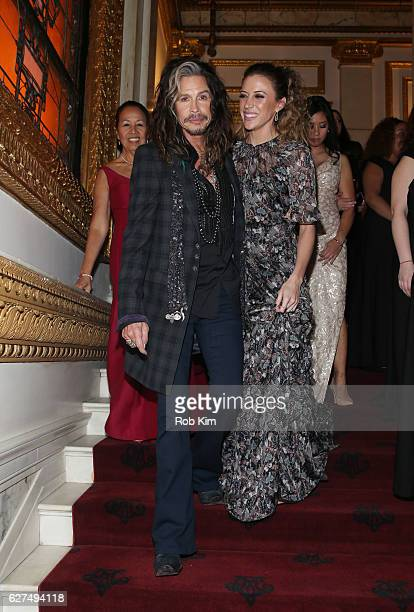 Steven Tyler and Aimee Ann Preston attend The Hospitality Committee For United Nations Delegations Inc Ambassadors' Ball 2016 at Metropolitan Club on...