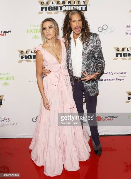 Steven Tyler and Aimee Preston arrive to Celebrity Fight Night XXIV held at JW Marriot Desert Ridge Resort Spa on March 10 2018 in Phoenix Arizona