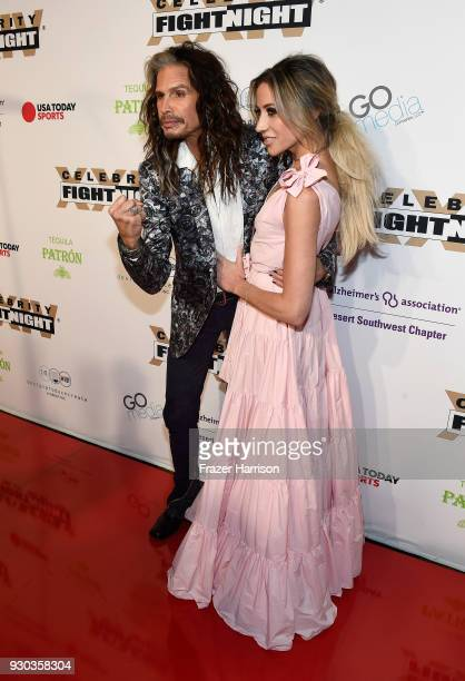 Steven Tyler and Aimee Preston attend Celebrity Fight Night XXIV on March 10 2018 in Phoenix Arizona