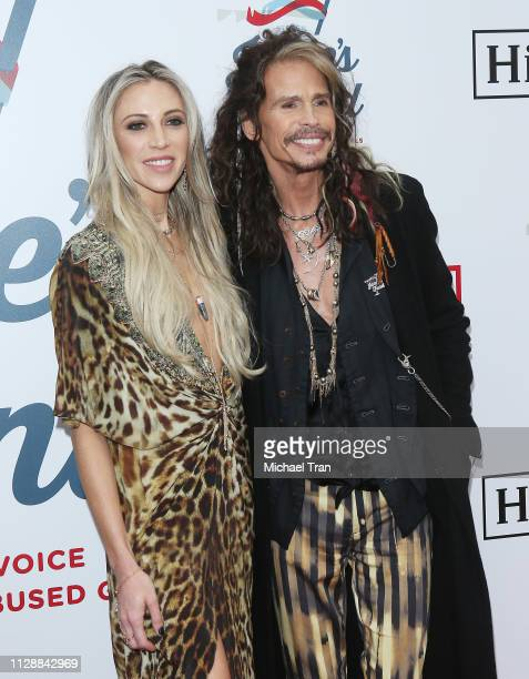 Steven Tyler and Aimee Preston attend Steven Tyler's GRAMMY Awards viewing party benefiting Janie's Fund held at Raleigh Studios on February 10 2019...