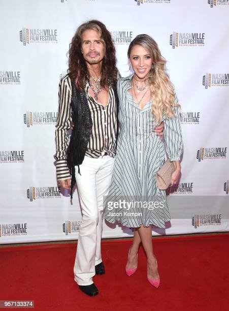 Steven Tyler and Aimee Preston attend the 49th Annual Nashville Film Festival 'Steven Tyler Out On A Limb' World Premiere on May 10 2018 in Nashville...