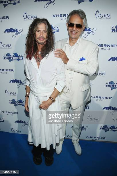 Steven Tyler and Andrea Bocelli attend the Closing Night Gala at Cinecittà as part of the 2017 Celebrity Fight Night in Italy Benefiting The Andrea...
