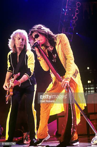 Steven Tyler and Brad Whitford performing with Aerosmith at Madison Square Garden in New York City on August 6 1997