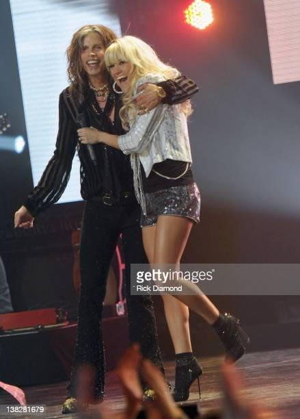 Steven Tyler and Carrie Underwood perform at the CMT Crossroads Live From Pepsi Super Bowl Fan Jam at Indiana State Fairgrounds Pepsi Coliseum on...