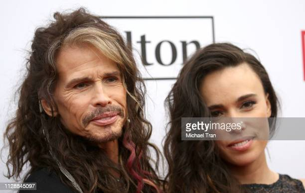 Steven Tyler and Chelsea Tyler attend Steven Tyler'sGRAMMY Awards viewing party benefiting Janie's Fund held at Raleigh Studios on February 10 2019...