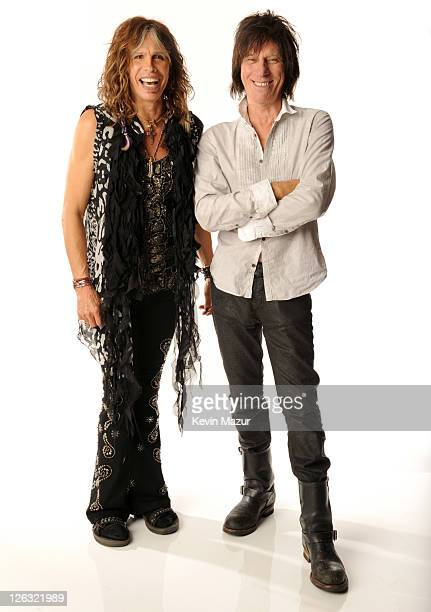 Steven Tyler and Jeff Beck pose in the portrait studio at the iHeartRadio Music Festival held at the MGM Grand Garden Arena on September 24, 2011 in...