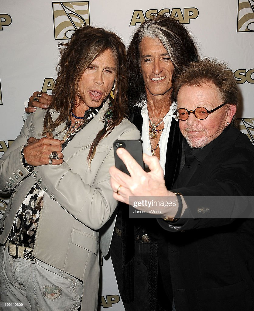 Steven Tyler and Joe Perry of Aerosmith and ASCAP President Paul Williams attend a press conference and presentation of the ASCAP Founders Award at Sunset Marquis Hotel & Villas on April 8, 2013 in West Hollywood, California.