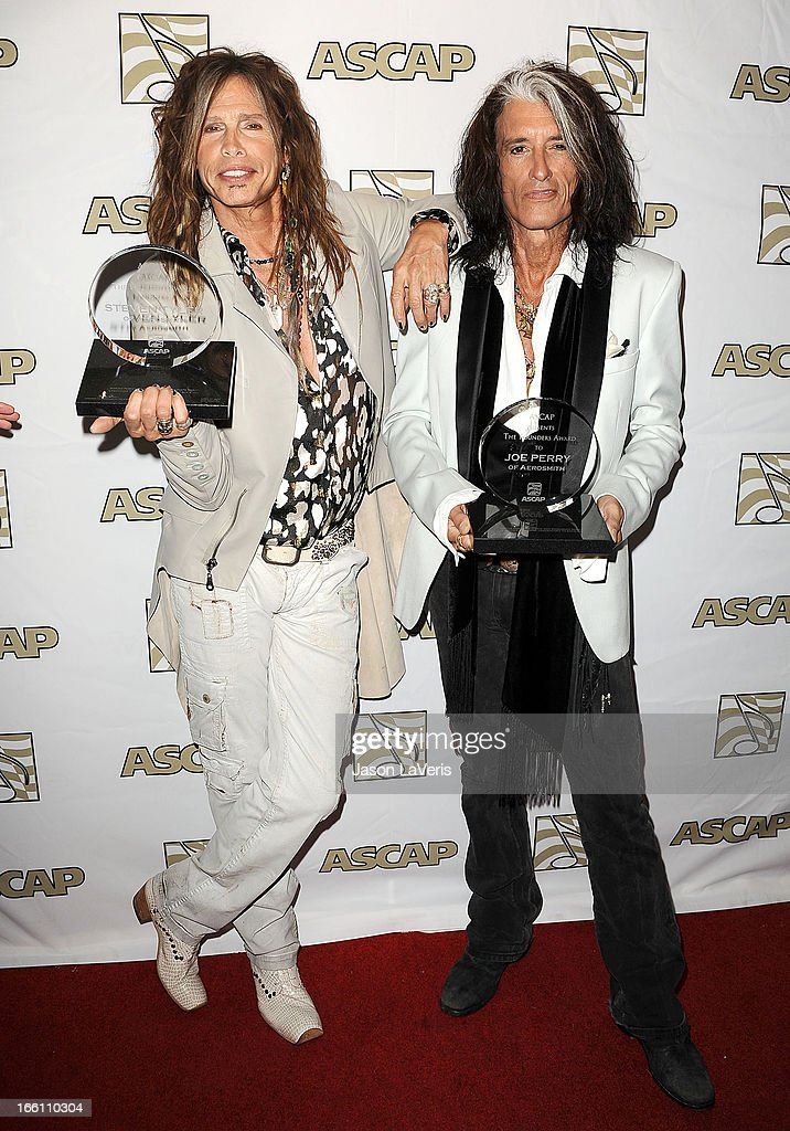 Steven Tyler and Joe Perry of Aerosmith attend a press conference and presentation of the ASCAP Founders Award at Sunset Marquis Hotel & Villas on April 8, 2013 in West Hollywood, California.