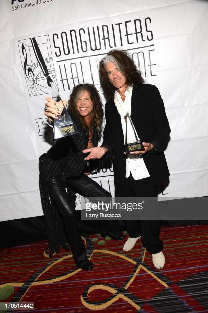 Steven Tyler and Joe Perry of Aerosmith attend the Songwriters Hall of Fame 44th Annual Induction and Awards Dinner at the New York Marriott Marquis...