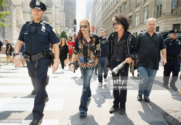 Steven Tyler and Joe Perry of Aerosmith depart for the Tonight Show appearance on August 16 2018 in New York City