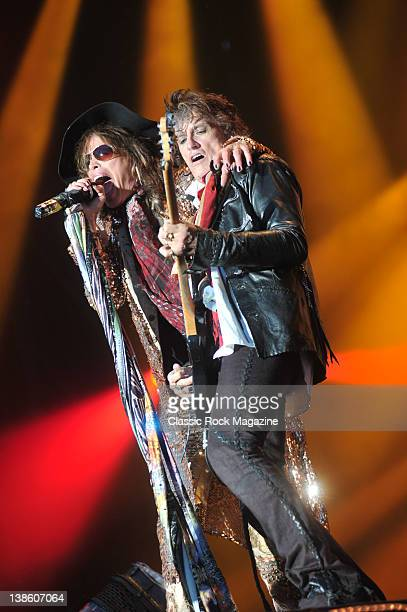 Steven Tyler and Joe Perry of Aerosmith, live on stage at Download Festival on June 13 Donington Park.