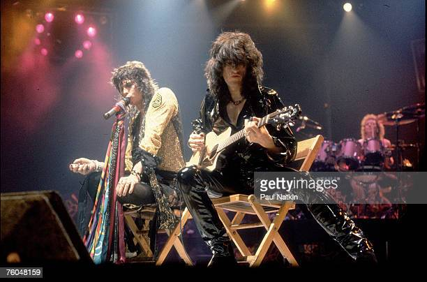 Steven Tyler and Joe Perry of Aerosmith on 11/24/82 in Chicago Il