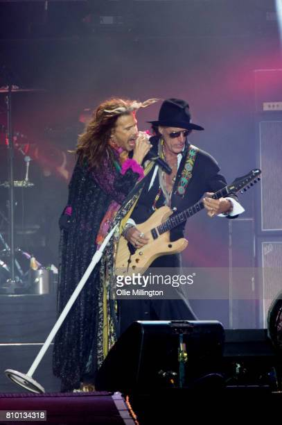 Steven Tyler and Joe Perry of Aerosmith perform during the bands last ever UK show headlining Day 3 of Download Festival Donington Park on June 11...