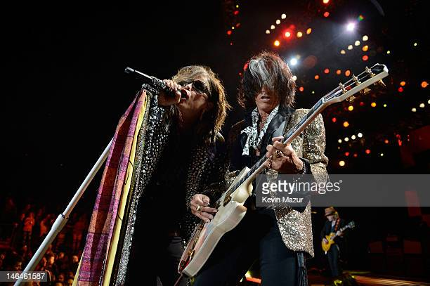 Steven Tyler and Joe Perry of Aerosmith perform during the opening night of the Global Warming Tour at the Target Center on June 16 2012 in...