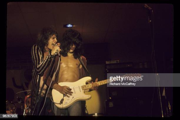 Steven Tyler and Joe Perry of Aerosmith perform live in 1973 in Newport Rhode Island