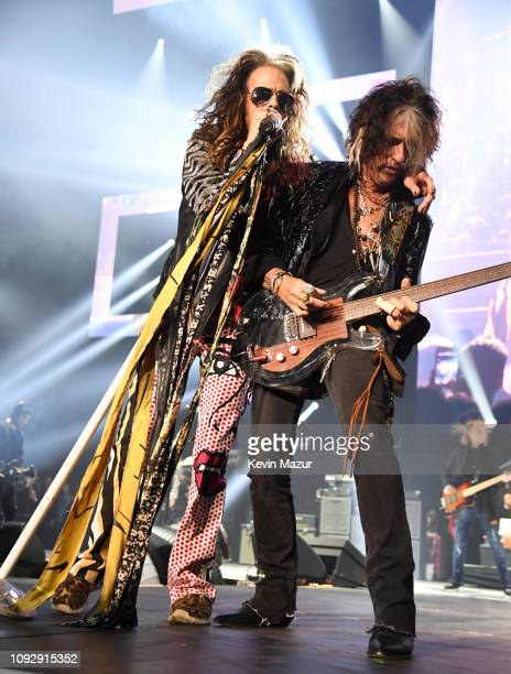 Steven Tyler and Joe Perry of Aerosmith perform onstage during Day 2 of Bud Light Super Bowl Music Fest at State Farm Arena on February 1 2019 in...
