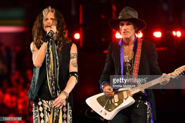 Steven Tyler and Joe Perry of Aerosmith perform onstage during the 62nd Annual GRAMMY Awards at STAPLES Center on January 26 2020 in Los Angeles...