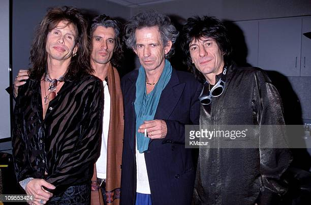 Steven Tyler and Joe Perry of Aerosmith with Keith Richards and Ron Wood of the Rolling Stones