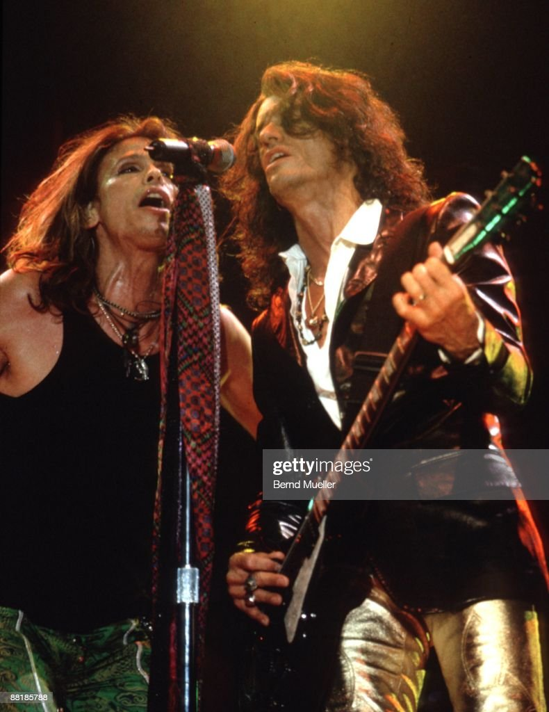 Steven Tyler (L) and Joe Perry of American band Aerosmith perform on stage at the Rock im Park Festival in Nuremberg, Germany on May 18 1997.