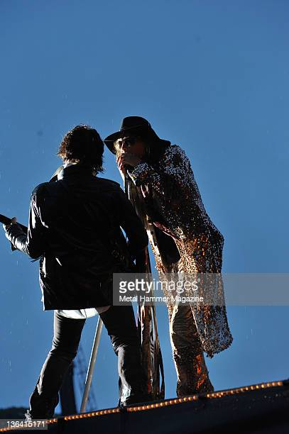 Steven Tyler and Joe Perry of American rock group Aerosmith performing live on stage at Download Festival on June 13 2010 at Donington Park