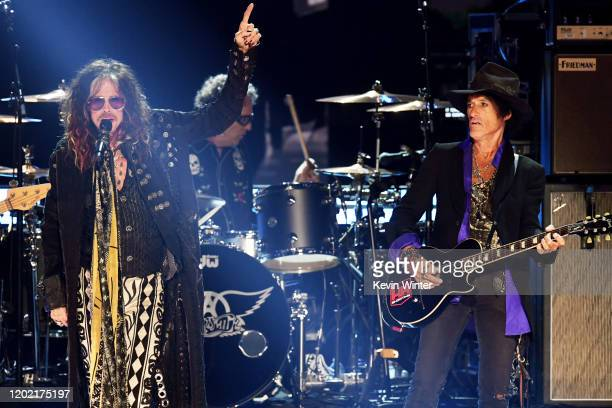 Steven Tyler and Joe Perry of music group Aerosmith perform onstage during the 62nd Annual GRAMMY Awards at STAPLES Center on January 26 2020 in Los...