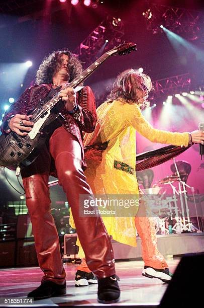 Steven Tyler and Joe Perry performing with Aerosmith at Madison Square Garden in New York City on August 6 1997