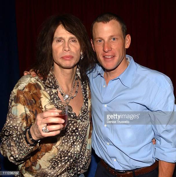 Steven Tyler and Lance Armstrong during UMIXIT Technology Party at The 2005 International Consumer Electronics Show at Light at the Bellagio Hotel...