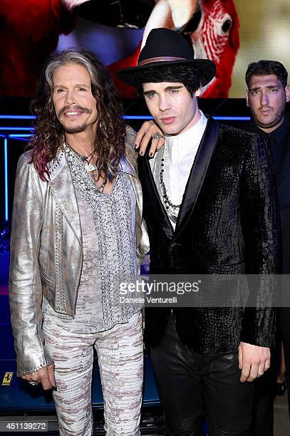 Steven Tyler and Leon Else attend the Roberto Cavalli show during the Milan Menswear Fashion Week Spring Summer 2015 on June 24 2014 in Milan Italy