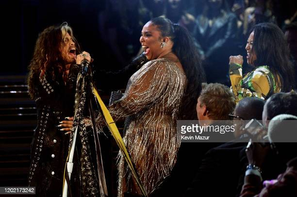 Steven Tyler and Lizzo perform during the 62nd Annual GRAMMY Awards at STAPLES Center on January 26 2020 in Los Angeles California