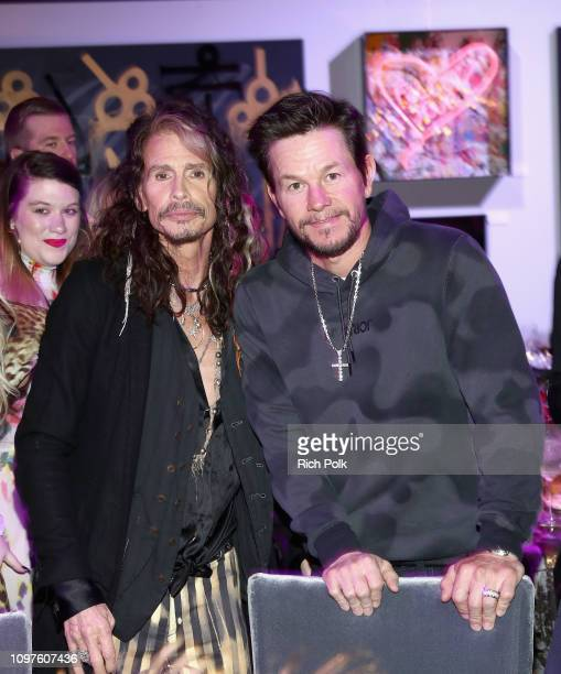 Steven Tyler and Mark Wahlberg attend Steven Tyler's Second Annual GRAMMY Awards Viewing Party to benefit Janie's Fund presented by Live Nation at...