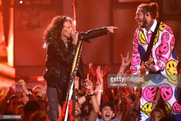 Steven Tyler and Post Malone perform onstage during the 2018 MTV Video Music Awards at Radio City Music Hall on August 20, 2018 in New York City.