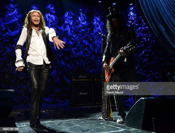 Steven Tyler and Slash perform onstage 'Howard Stern's Birthday Bash' presented by SiriusXM produced by Howard Stern Productions at Hammerstein...