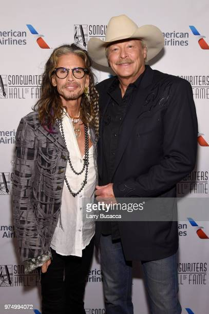 Steven Tyler and Songwriters Hall of Fame Inductee Alan Jackson pose backstage during the Songwriters Hall of Fame 49th Annual Induction and Awards...