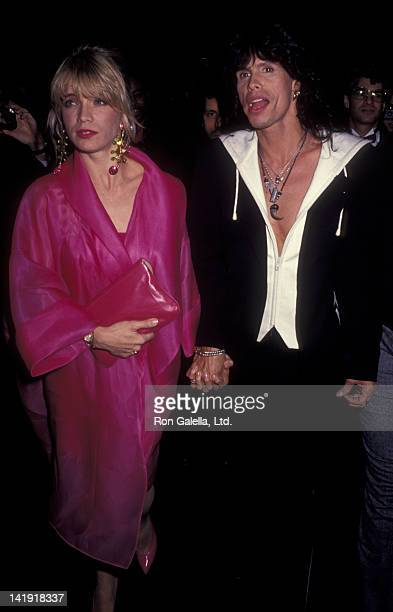 Steven Tyler and wife Teresa Barrick attend CBS Records Party for 33rd Annual Grammy Awards on February 20 1991 at the General Electric Building in...