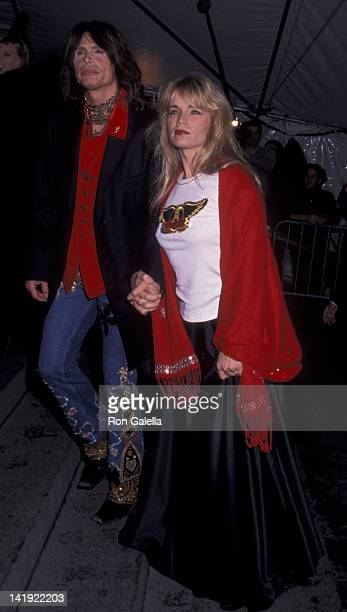Steven Tyler and wife Teresa Barrick attend Metropolitan Museum of Art Costume Institute Exhibition Rock Syle on December 6 1999 at the Metropolitan...